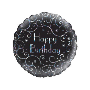 Holographic Swirls Birthday Foil 18 inch Foil Balloon