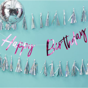 Good Vibes Hot Pink Happy Birthday Bunting