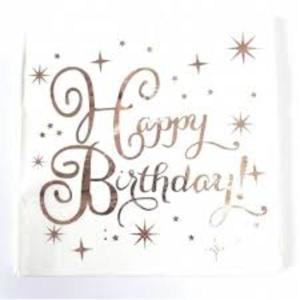 Rose Gold Happy Birthday Serviettes (20)