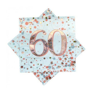 Rose Gold Sparkling Fizz Napkins 60th Birthday
