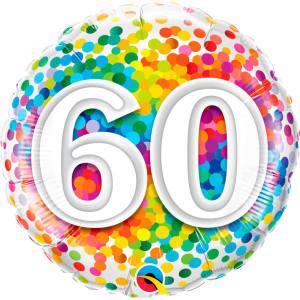 Rainbow Confetti 60th Birthday 18 inch foil balloon