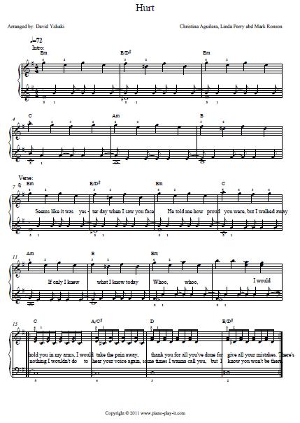 Hurt chords christina aguilera