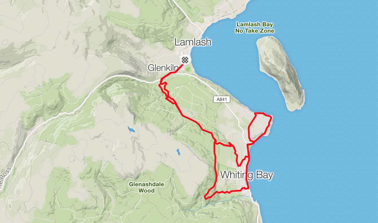 trail run from Lamlash to Whiting Bay and Kings Cross