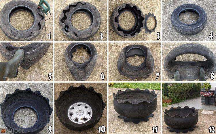 Клумби з шин своїми руками (фото варіантів)