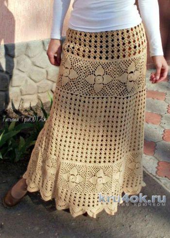 Женская юбка крючком, бохо вязание