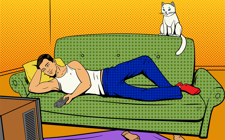 Лежит мужик на диване