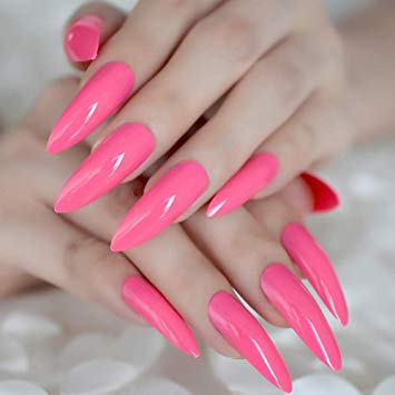 Pink false nails