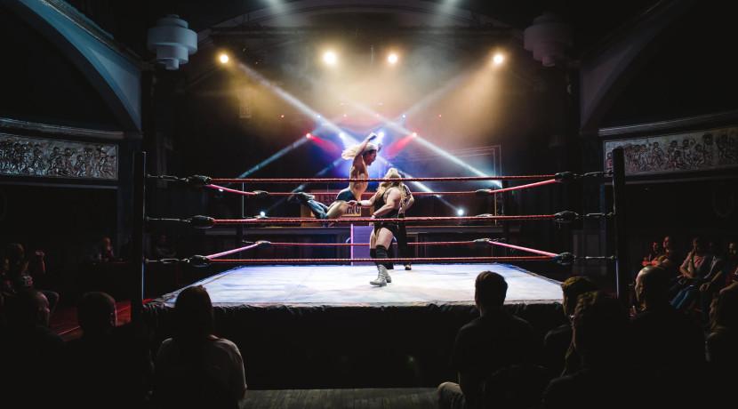 International wrestling superstars arrive at The Benn Hall, Rugby