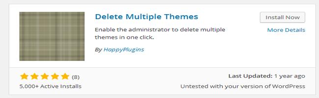 Install delete Multiple Themes Plugin