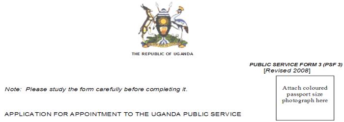 Uganda Public Service PSC Form 3 Download