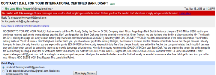 CONTAACT D.H.L FOR YOUR INTERNATIONAL CERTIFIED BANK DRAFT