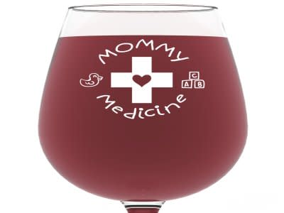 Mommy Medicine Funny Wine Glass 13 oz - Best Birthday Gifts For Women - Unique Gift For Her - Cool Humorous Present Idea For Mom, New Mother, Wife, Girlfriend, Sister, Coworker or Adult Daughter