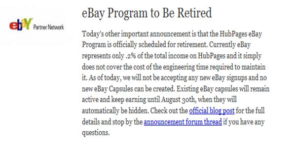 Hubpages Retires eBay Partner Program Off Hubs