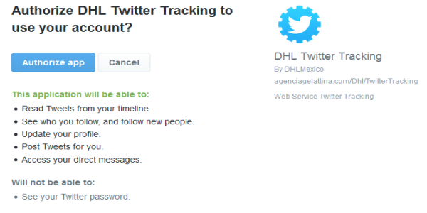 DHL.com official tracking tool twitter