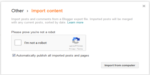 Blogger content Import prompt