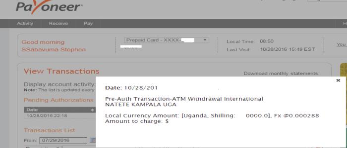 Payoneer Pre-Auth Failed Transactions