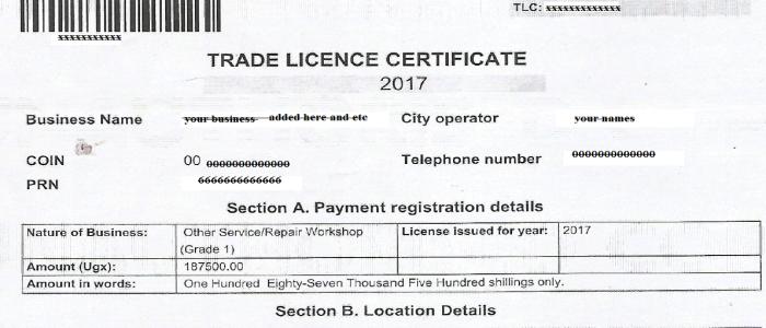 KCCA Trading License 2017