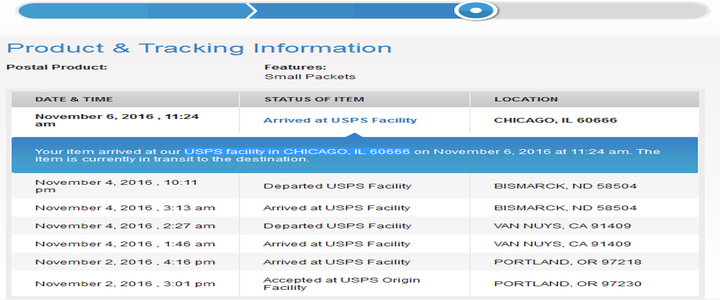 Your item arrived at our USPS facility in CHICAGO, IL 60666 on xxx. The item is currently in transit to the destination.