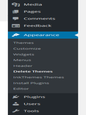 Hover on appearance and hit delete