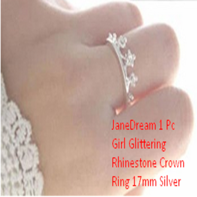 JaneDream 1 Pc Girl Glittering Rhinestone Crown Ring 17mm Silver