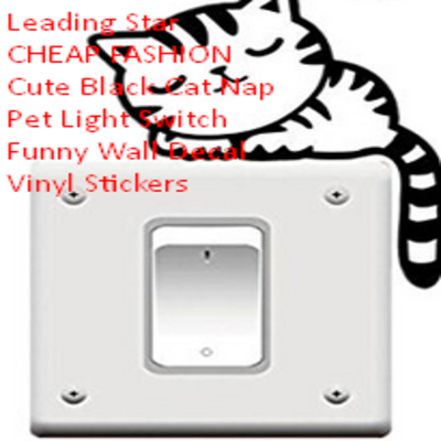 Leading Star CHEAP FASHION Cute Black Cat Nap Pet Light Switch Funny Wall Decal Vinyl Stickers