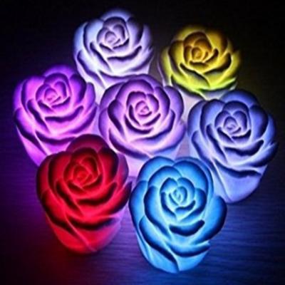 Dcolor Veilleuse a LED Design de rose 7 couleurs romantiques changeantes, Energy Class A+