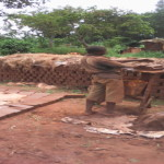 Home made bricks laying in Uganda
