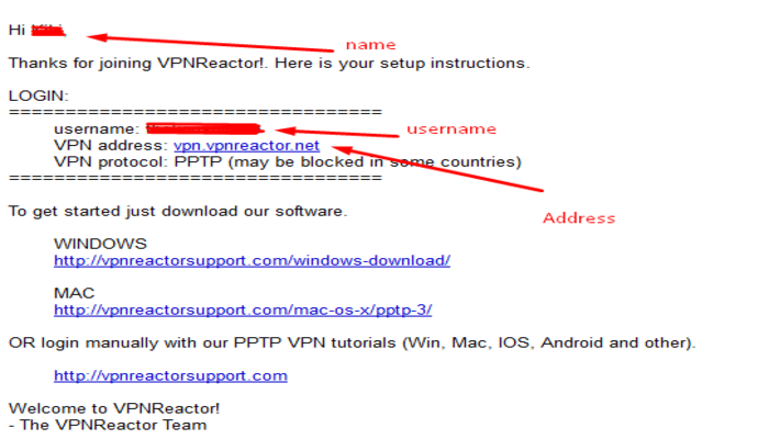 VPNReactor_Set_up_email_content_with_details
