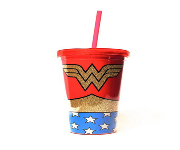 Silver Buffalo WW01087G DC Comics Wonder Woman Uniform Glitter Plastic Cold Cup with Lid and Straw