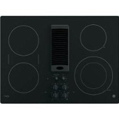 "GE Profile 30"" Black Electric Cooktop With Downdraft"