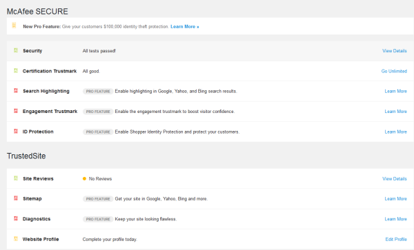 MacFee Secure Verified Trust Mark On WordPress