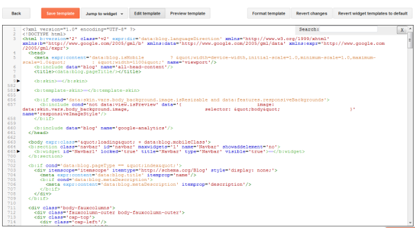 Blogger Source code editing section