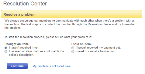eBay Overdue Resolution Center