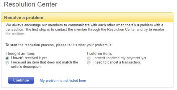eBay Overdue Resolution Center