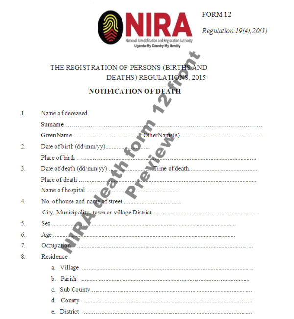 NIRA death form 12 front