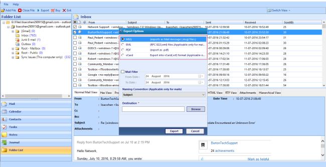Export Desired Folders