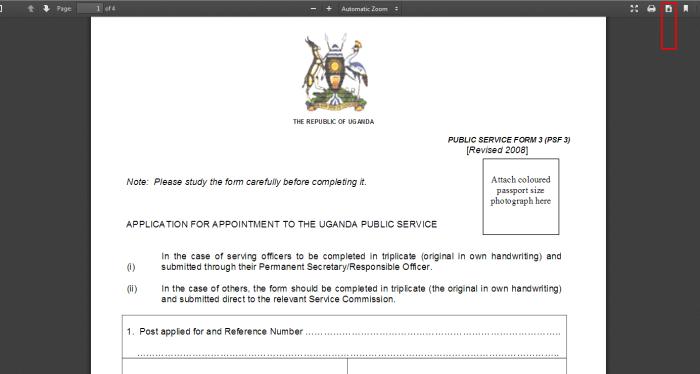 Download PSC application form 3 Uganda