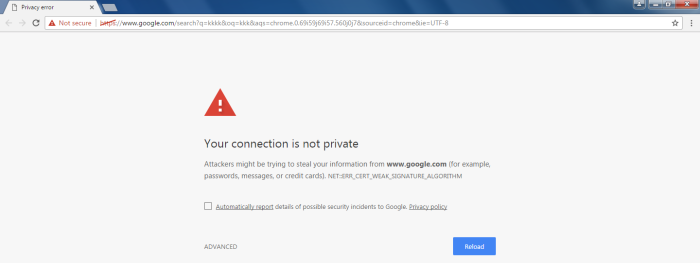 your connection is not private error in chrome how to solve