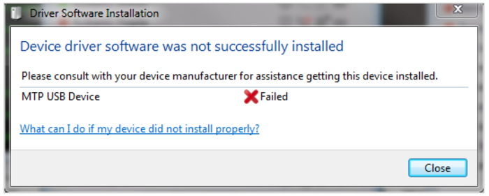 MTP Device USB Driver Failed To Install