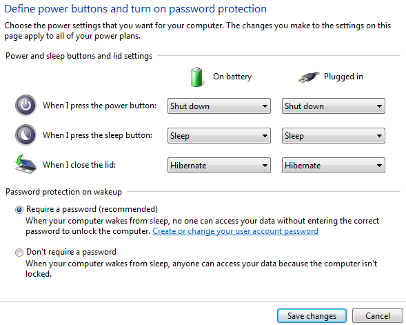 Require password on wake up windows 7