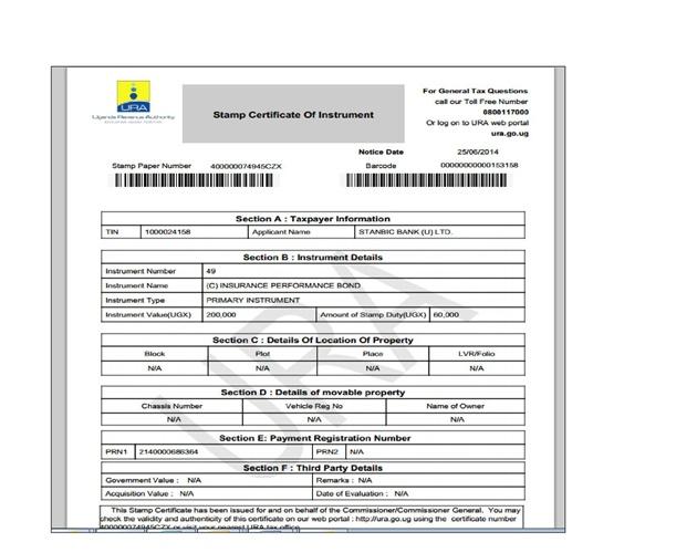 URA Stamp Duty Certicate Sample