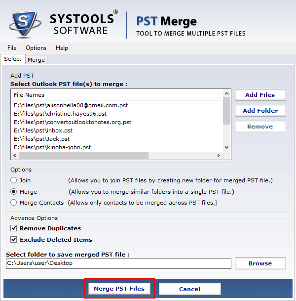 Different Options for Merging PST Files