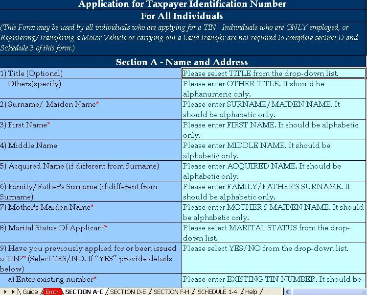 URA Individual TIN Number application form download