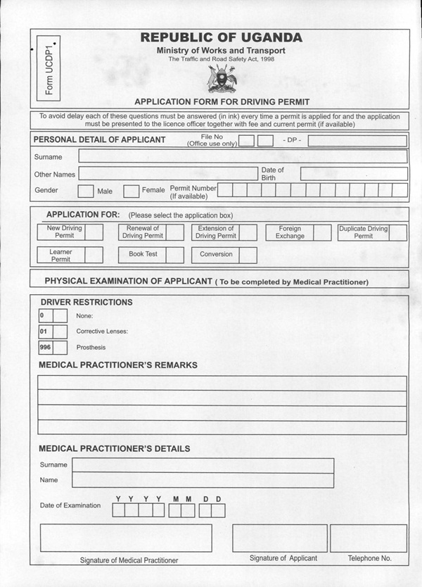 URA Driving Permit Application Medical Form UCDP – Medical Form