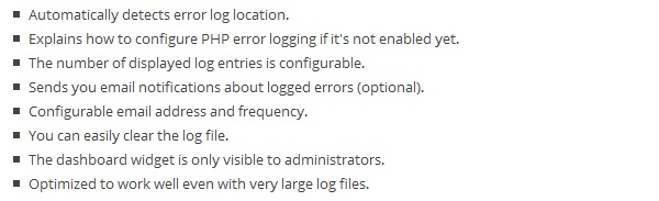 WordPress Error Log Plugin Features