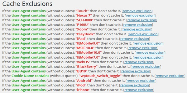 WPTouch WordFence Cache Exclusion
