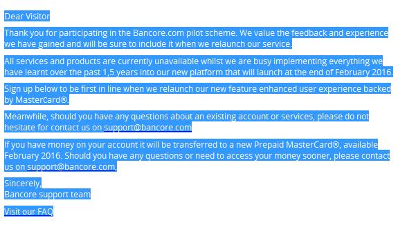 Bancore New Prepaid Mastercard Announced