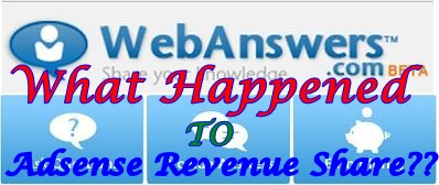 Webanswers Google Adsense Revenue No Longer