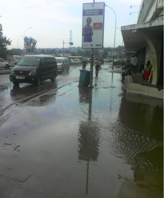 Kampala City Jinja Road Traffic Lights Flooded After Rainfall