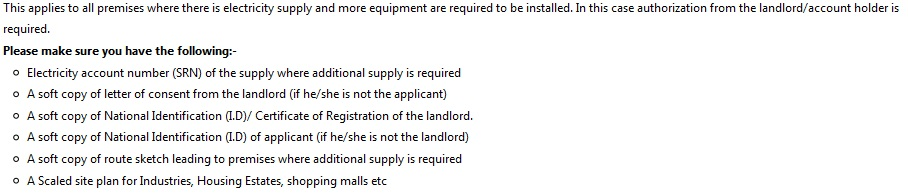Application for Additional Supply of Electricity Kenya Stima Online